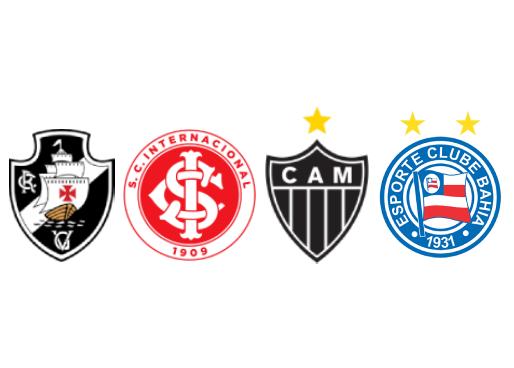 escudos dos timesdo g4 na quarta rodada brasileirao 2020, sendo vasco, internacional, atletico mineiro e bahia