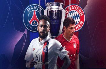 arte com os símbolos do PSG e do Bayern de Munique junto de Neymar e Lawandovski abaixo de um trpféu da Champions League