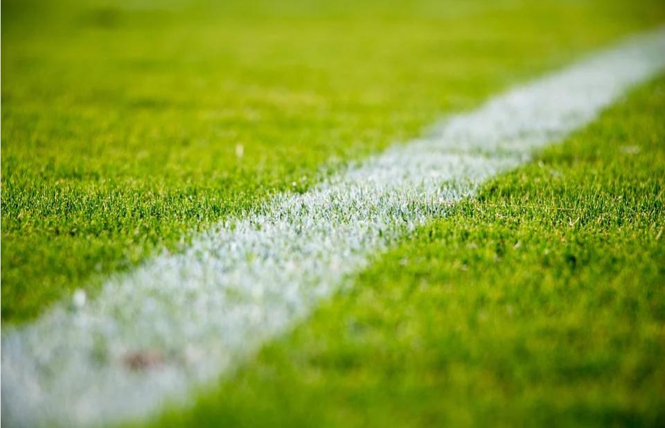 imagem ampliada de uma linha de lateral branca em um gramado de campo verde