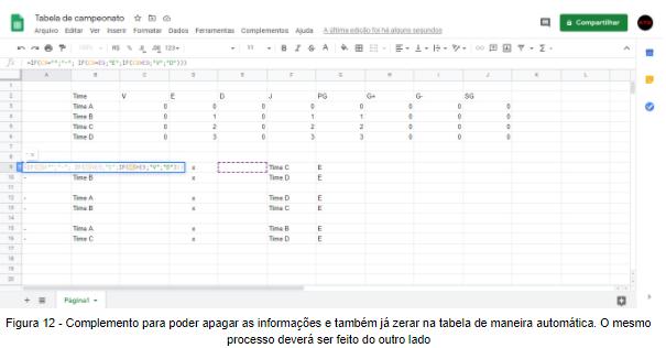 Figura 12 - Complemento para poder apagar as informações e também já zerar na tabela de maneira automática. O mesmo processo deverá ser feito do outro lado