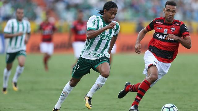 jogadores do Palmeiras e do Atlético Goianiense disputam bola em meio a partida