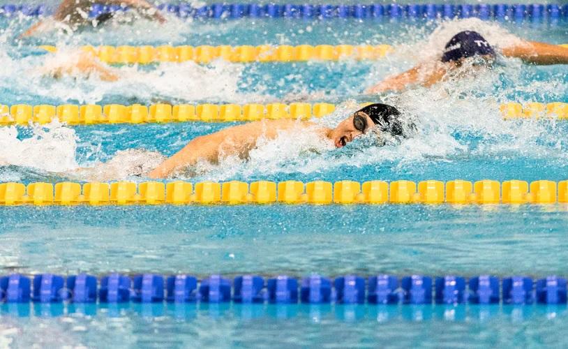 Em uma piscina, duas pessoas estão competindo em raias diferentes